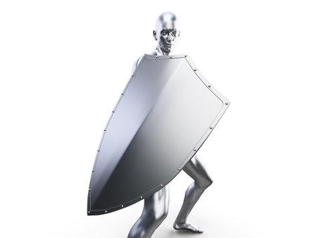 3d rendered illustration of a metal man in defensive pose