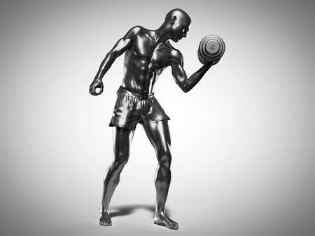 3d rendered medically accurate illustration of a metallic man lifting dumbbells