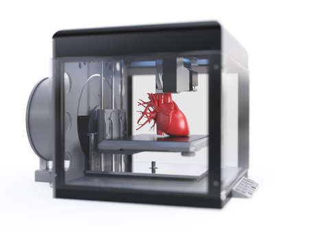 3d rendered medically accurate illustration of a 3d printer printing a heart
