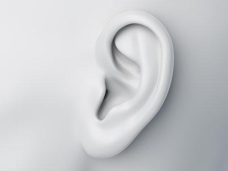 3d ha reso l'illustrazione medicamente accurata di un orecchio femminile astratto grigio