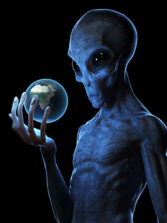 3d rendered medically accurate illustration of a grey alien holding the earth