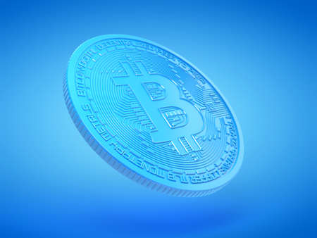 3d rendered illustration of a blue bitcoin Stockfoto