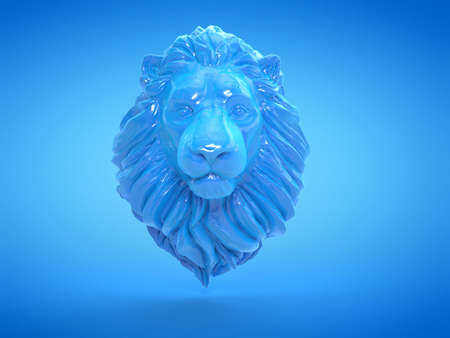 3d rendered illustration of a blue lion sculpture