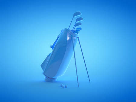 3d rendered illustration of a blue set of golf equipment
