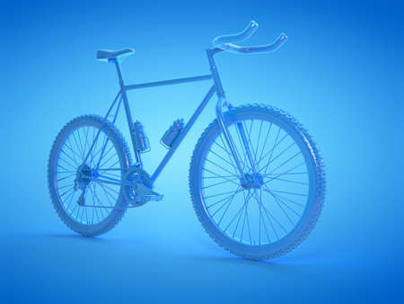 3d rendered illustration of a blue mountain bike