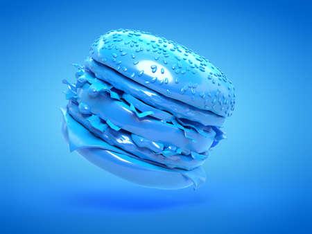3d rendered illustration of a blue burger Stockfoto