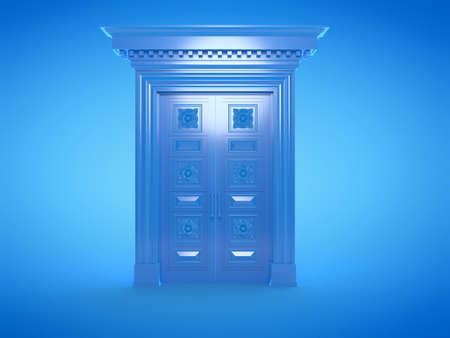 3d rendered illustration of a blue door Stockfoto