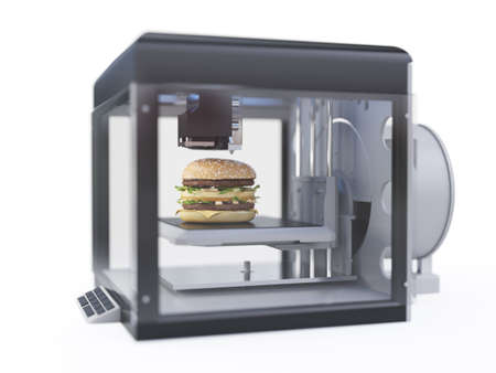 3d rendered illustration of a 3d printer printing a burger Stockfoto
