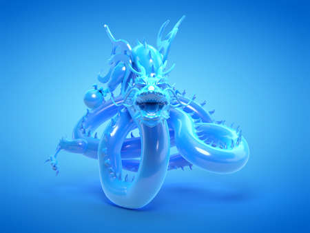 3d rendered illustration of a blue asian dragon statue