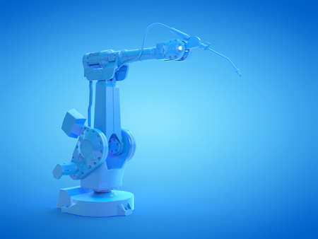 3d rendered illustration of a blue welding robot