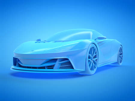 3d rendered illustration of a blue sports car Stockfoto
