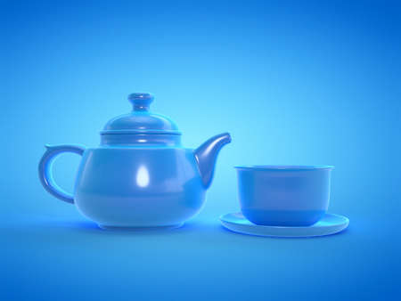 3d rendered illustration of a blue tea set