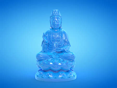 3d rendered illustration of a blue buddha statue