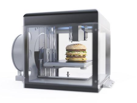 3d rendered illustration of a 3d printer printing a burger 写真素材