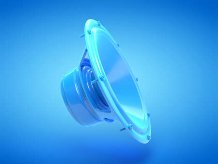 3d rendered illustration of a blue speaker Stockfoto