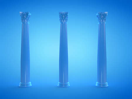 3d rendered illustration of blue columns