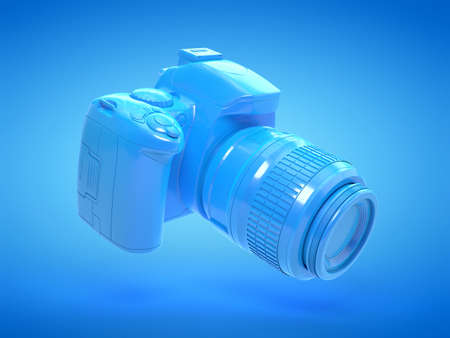 3d rendered illustration of a blue camera