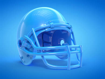 3d rendered illustration of a blue football helmet