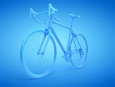 3d rendered illustration of a blue racing bike