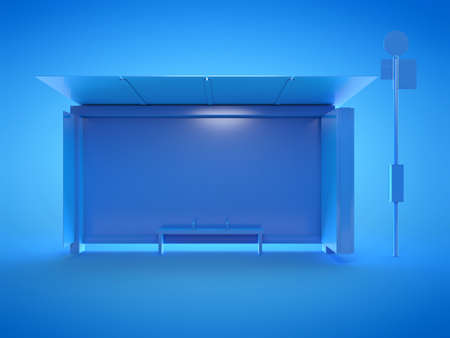 3d rendered illustration of a blue bus stop