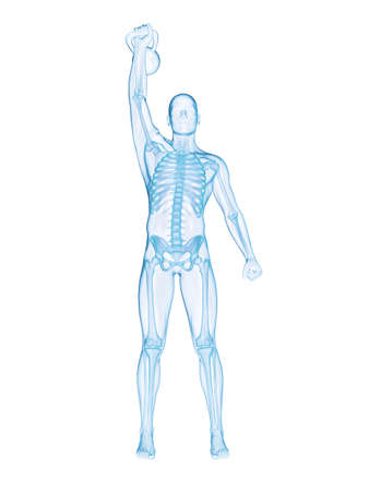 3d rendered illustration of a man doing a kettlebell workout