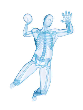 3d rendered illustration of a handball player