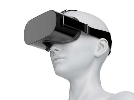 3d rendered illustration of an abstract white female wearing a VR headset