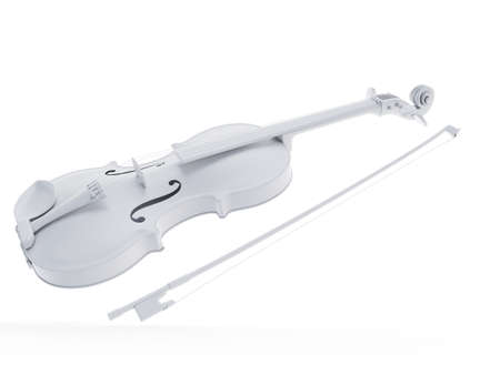 3d rendered object illustration of an abstract white violine