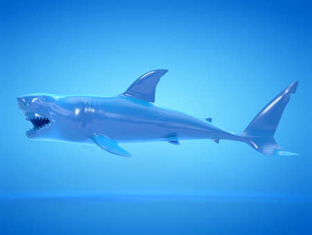 3d rendered object illustration of an abstract blue shark