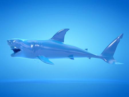 Objet de rendu 3D illustration d'un requin bleu abstrait