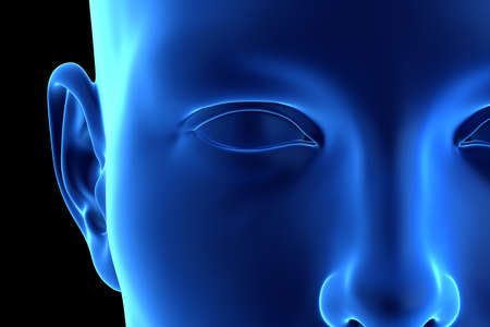 3d rendered illustration of an abstrac blue female face