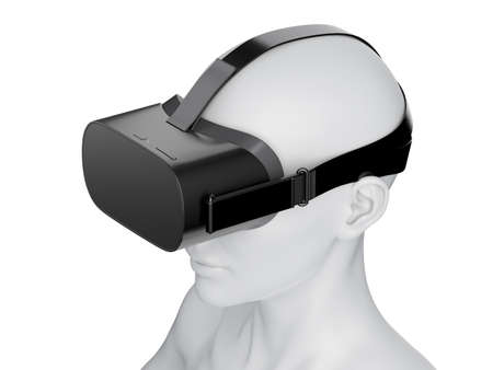 3d rendered illustration of an abstract white female wearing a VR headset Banco de Imagens