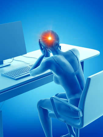 3d rendered medically accurate illustration of a woman having a headache