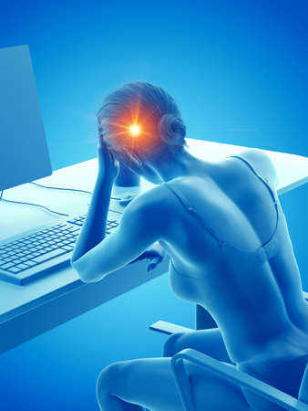 3d rendered medically accurate illustration of a woman having a painful headache while working Stock fotó