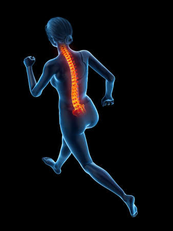 3d rendered medically accurate illustration of a woman having a painful back while running