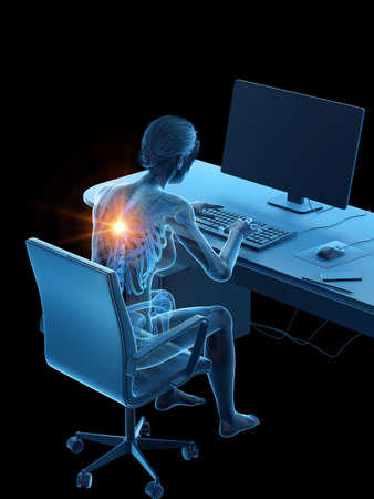 3d rendered medically accurate illustration of a woman having a painful back while working
