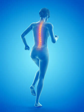 3d rendered medically accurate illustration of a woman having a painful back while walking