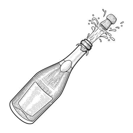 Ilustración de vector de estilo vintage. Grabado. Un trago de una botella de champán. Explosión de una botella de champán. Dibujo en blanco y negro.
