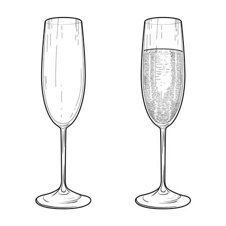Vector sketch of champagne glasses. Illustration of a glass goblet with champagne. Illustration