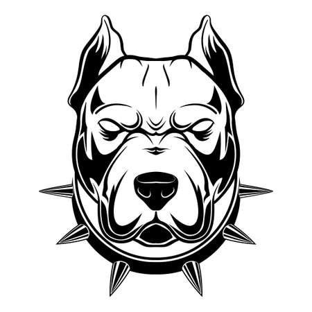 Pitbull Spiked Collar Vector Vector Illustration
