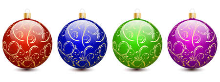 Set of beautiful multicolor shiny Christmas balls. Christmas decoration for festive mood. Design element isolated on white.