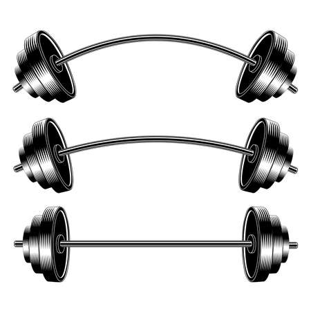 Vector Image Barbell. Barbell set. Curved Barbell. Straight Barbell. Design Element for sports posters. Illusztráció