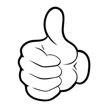 Vector illustration of a cartoon hand. Like icon.