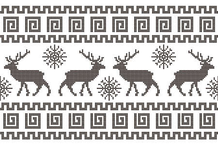 Beautiful pixel ornament with deer and snowflakes. Seamless horizontal pattern. Illustration for website and banner.