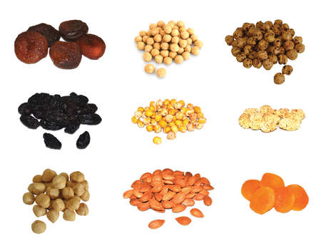 apricot kernels: Nuts collection on a white background