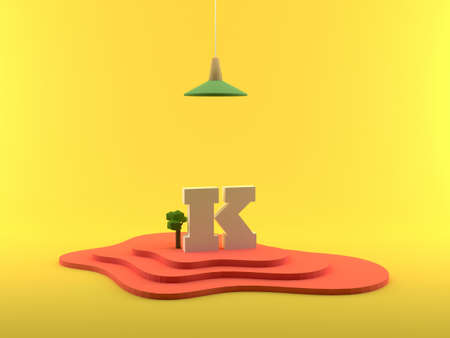 Abstract 3D Rendering Letter K