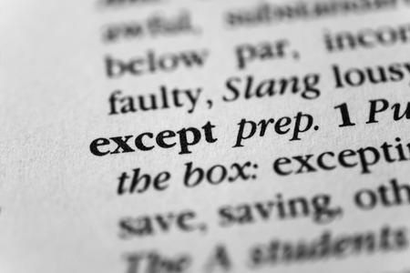 exempt: Except