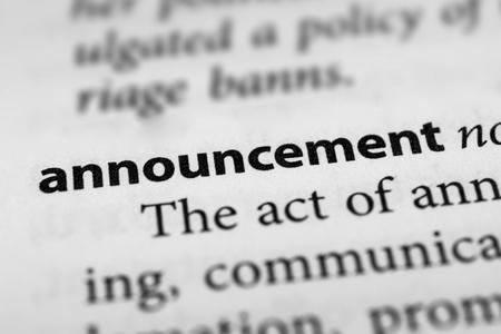 proclamation: Announcement