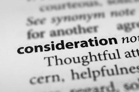 consideration: Consideration