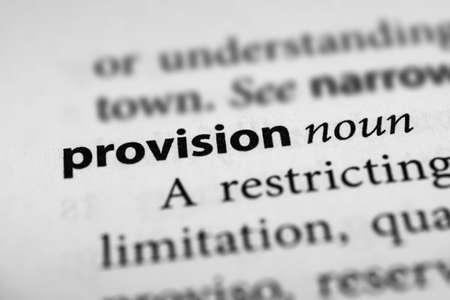 provision: Provision Stock Photo